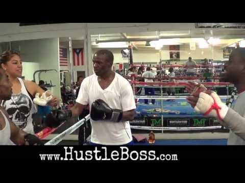 Floyd Mayweather Sr. mock sparring with Zach Cooper at the Mayweather Boxing Club Image 1