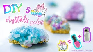How To Make Crystals and Fake Geodes In 5 Minutes – Easy DIY Crystals With Sea Salt and Nail Polish