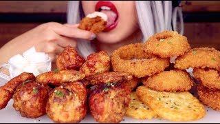 ASMR Eating Korean Fried Chicken ft. Onion Rings | CRUNCHY Mukbang *No Talking*