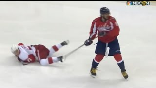 Alexander Ovechkin Open Ice Hit on Dylan Larkin