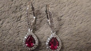 Target 2 7/8 Created  Ruby Earrings w Created White Sapphire lever back Earrings