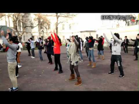 """Red Scarf UK""""Get You Moving""""Chinese Radio Exercise flash mob @ UCL"""