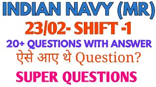 Navy MR Exam 23/02 Shift-1 All Questions With Answers✌️ || Navy MR Exam All Questions With Answer