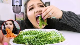 i Tried ASMR..Eating Sea Grapes, Spicy Noodles,  Balloons (Sticky Crunchy Sounds)