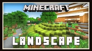 Minecraft:  Garden Lawn And tree Design   (Modern House Tutorial  Ep. 23)