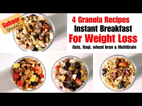 Homemade Granola Recipe | 4 Ways | How to make Granola | Oats, Ragi | In Hindi | Weight Loss