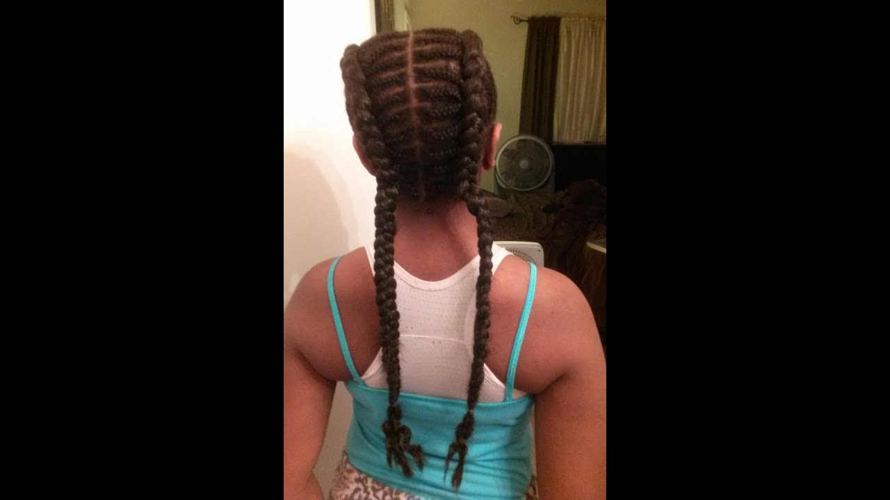 Two Straight Braids Two French Braids W/hair