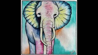 Easy Elephant Drawing | water color painting | colorful elephant drawing for beginners