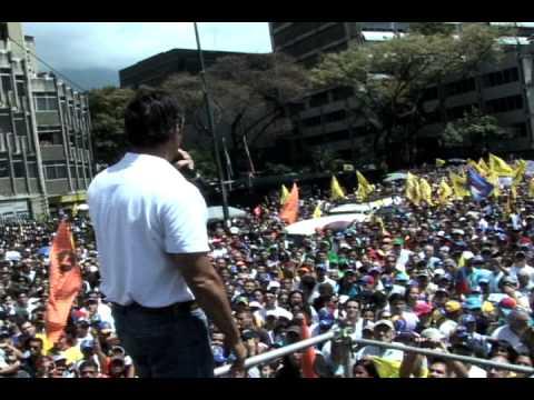 Discurso de líder opositor Leopoldo Lopez el 12F previo a marcha estudiantil en Venezuela