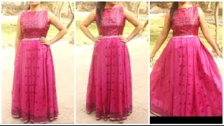 Convert Old Saree Into Long Gown Dress | DIY