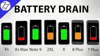 iPhone XS vs XS Max vs Note 9 vs Pixel 2 vs X vs 8 Plus vs 7 Plus - BATTERY DRAIN Test!