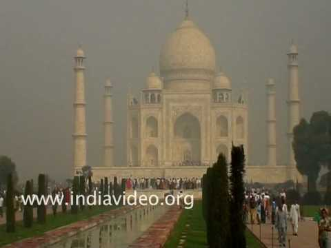 The mist covered Taj Mahal