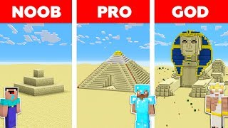 Minecraft NOOB vs PRO vs GOD : SAND BASE CHALLENGE in minecraft / Animation