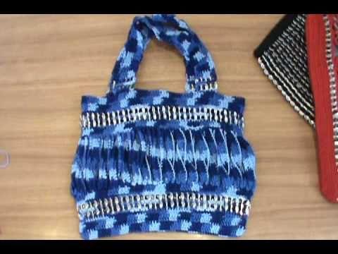 como hacer bolsas tejidas con fichas PlayList