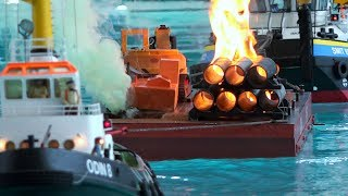 BIG RC FIRE RESCUE SHIP ACTION ON THE POOL!! RC MODEL SCALE SHIPS, RC BOATS