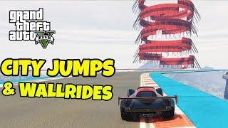 WALLRIDES & CITY STUNT JUMPS | GTA 5 Race med SoftisFFS