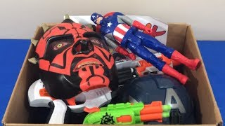 Box Full of Toys Super Heroes Toy Guns for Kids Captain America