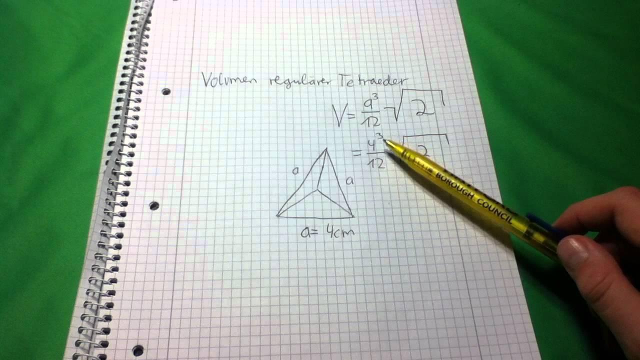 volumen eines tetraeders dreieckspyramide berechnen. Black Bedroom Furniture Sets. Home Design Ideas