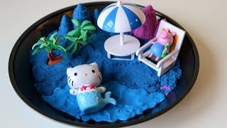 DIY Kinetic Sand Island and Beach Barbie Hello Kitty Peppa Pig | Blue Shimmering Kinetic Sand
