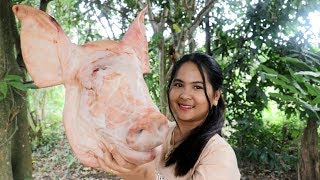 Awesome Cooking : Braised Pig's Head With Coconut Water Recipe - Cook & Eating Food Show
