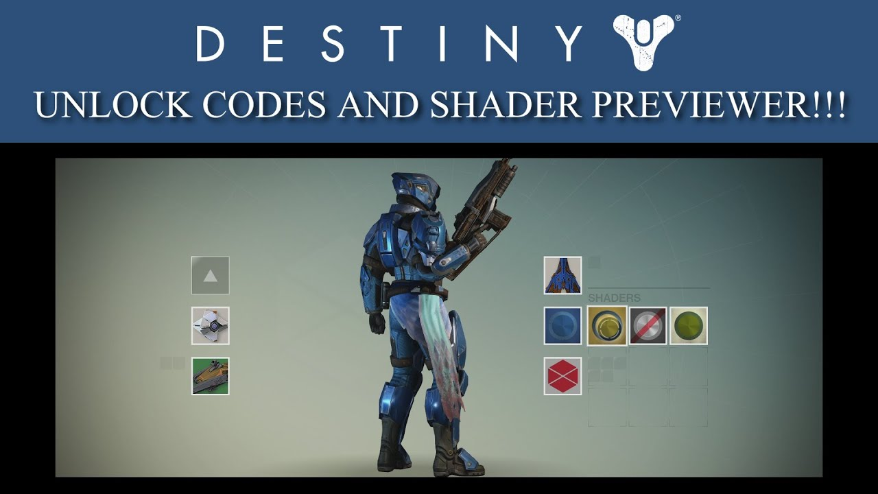 Destiny 29 special unlock codes and shader previewer youtube