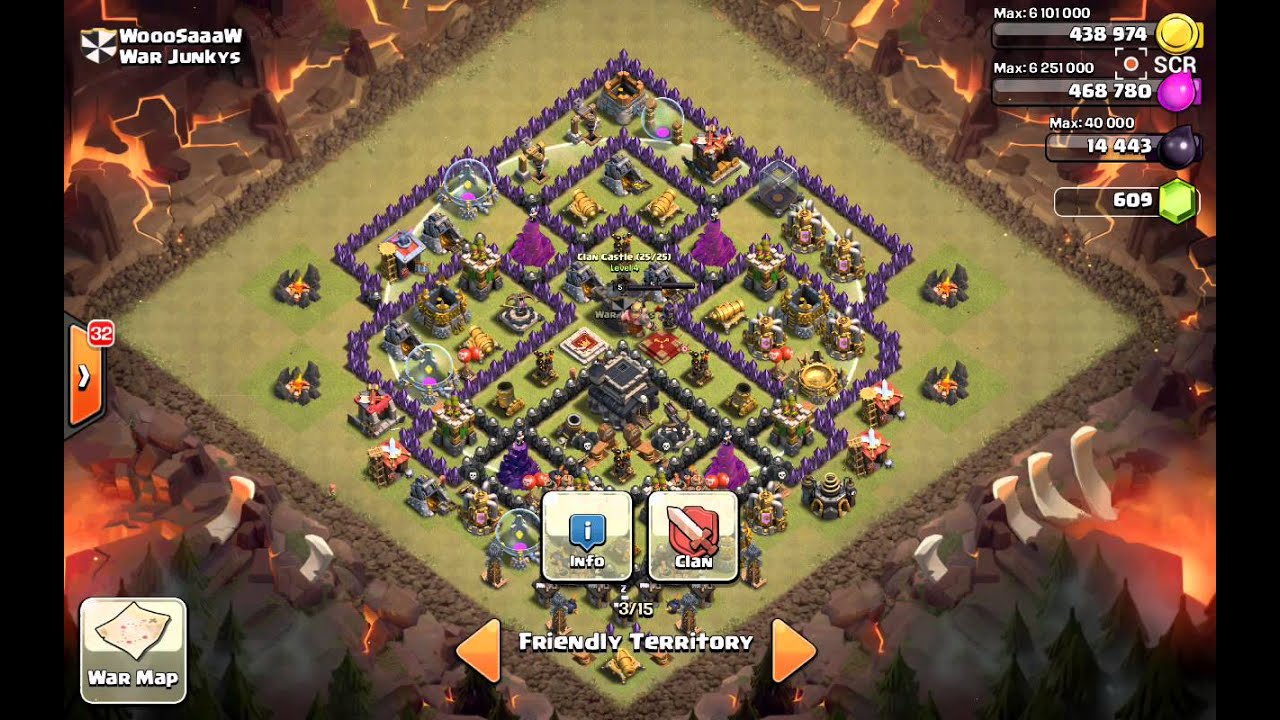 Th9 war base 0 1 stars clash of clans youtube