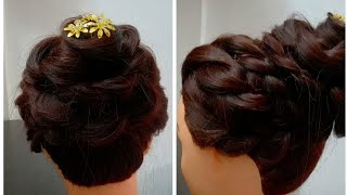 Beautiful flower hairstyle with braid.wedding hairstyle.