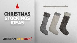 "Top Christmas Stockings Grey: Set of 3 Grey White 19-1/2""H Fabric Country Christmas Stockings"