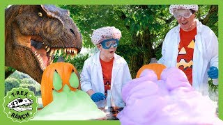 T-Rex Toothpaste for Dinosaurs Challenge! Halloween Science Experiments for Kids with Giant Dinosaur