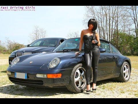 Fast Driving Girls - Jackye Porsche 911 (041) driving in platform high heels + leather gloves