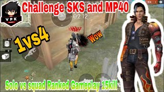Free fire - 1vs4 challenge SKS & MP40 15kill /by VPK Gaming