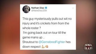 Nate Diaz calls out UFC roster & Dustin Poirier responds 'Fake a** gangster'