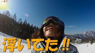 [オーリーしてみた] 地球で遊ぶ!!キャシーさんの初滑り!! スノーボード動画竜王シルブプレ4-7