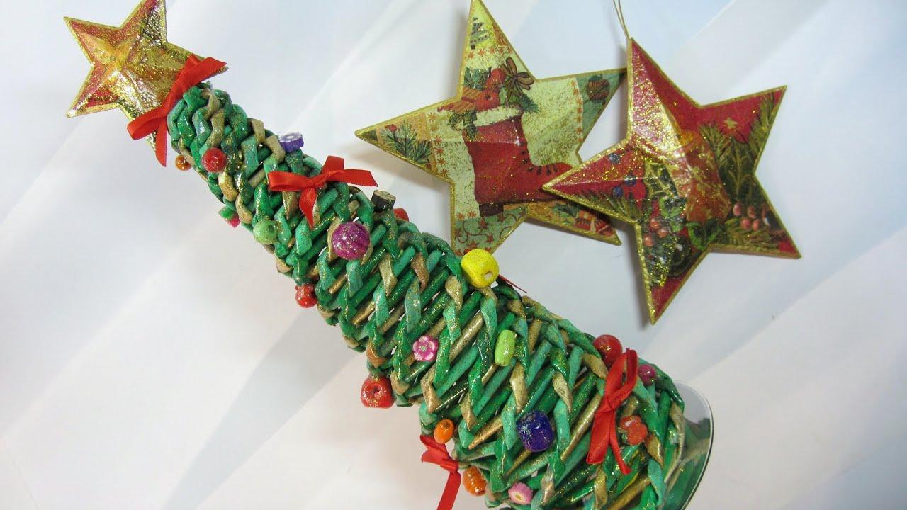 Como hacer un rbol de navidad hecho con peri dicos tree - Arboles de navidad artesanales ...