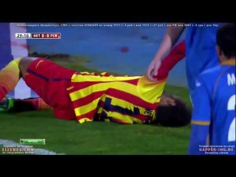 La Horrible lesión de Neymar    Getafe vs Barcelona Copa del Rey 2014