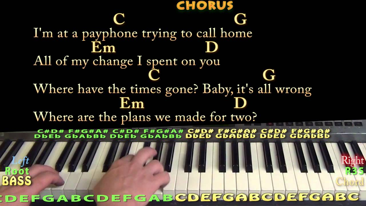 Payphone (Maroon 5) Easy Piano Cover Lesson with Chords u0026 Lyrics - YouTube