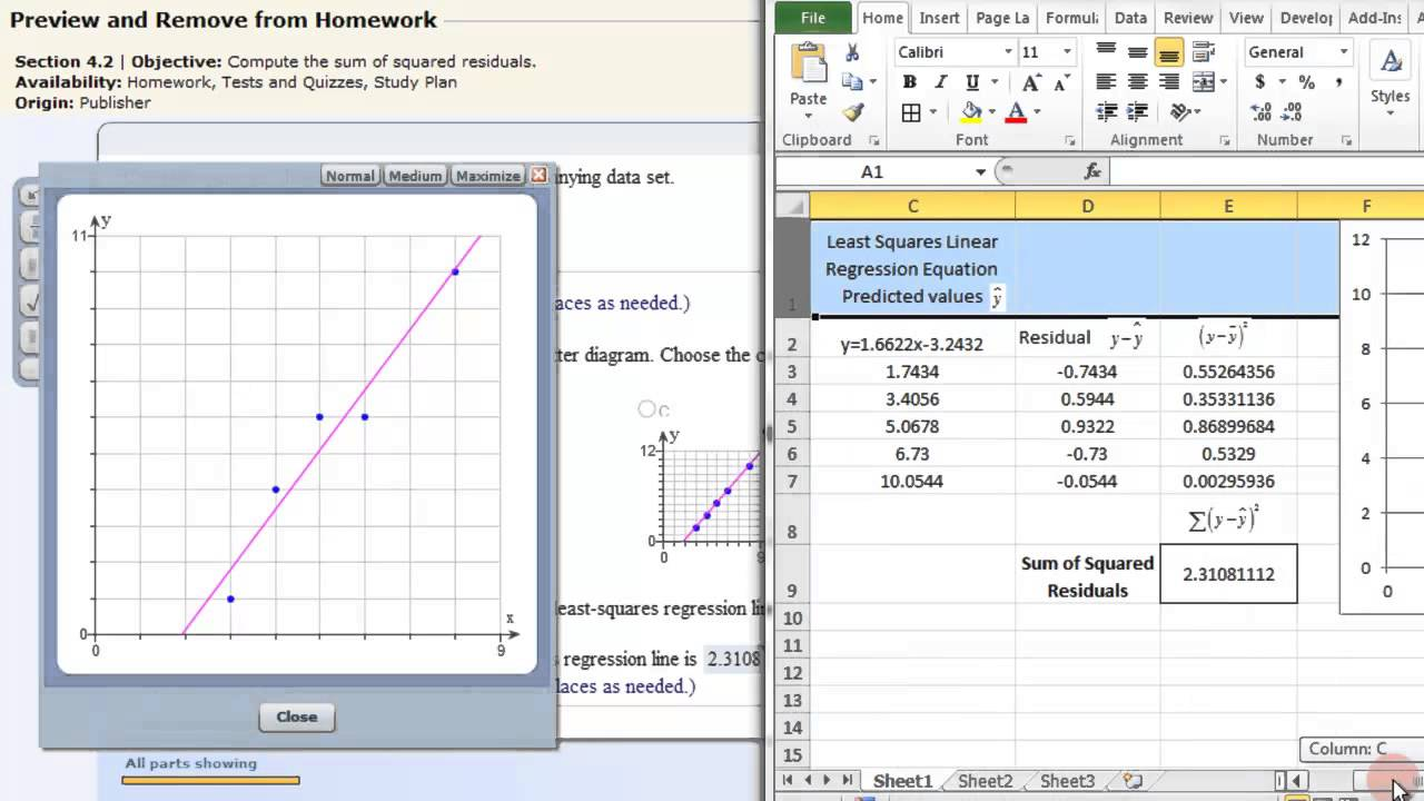 least squares linear regression - excel