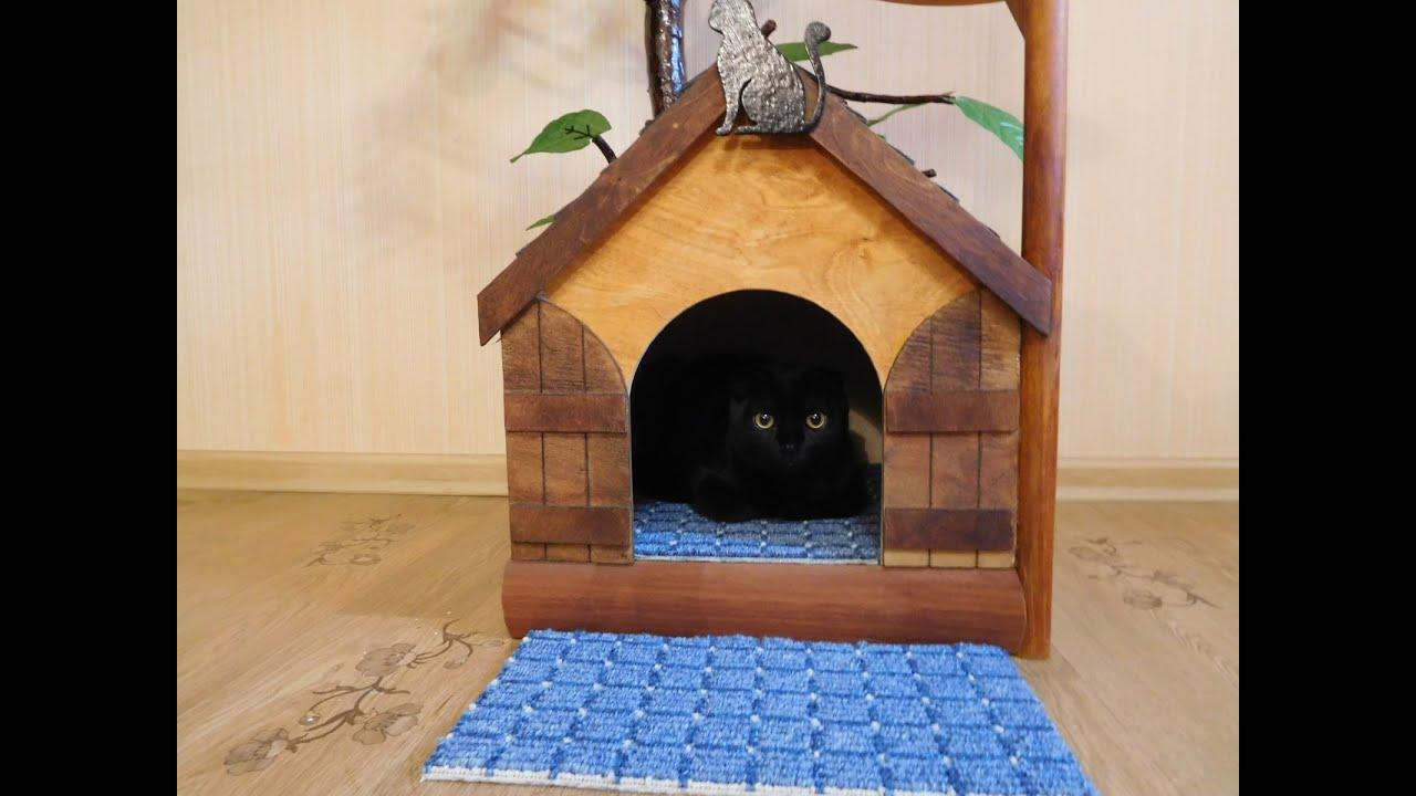 Как сделать кошачий домик в домашних условиях 525