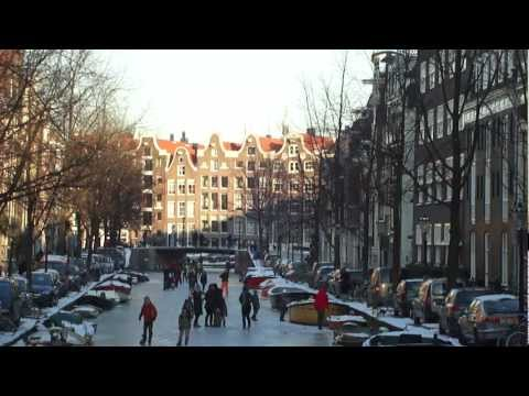LAURIERGRACHT - AMSTERDAM - Round  5  O`clock P.M. Ice Skaters on The Ice - 06.02.2012.PT 1.