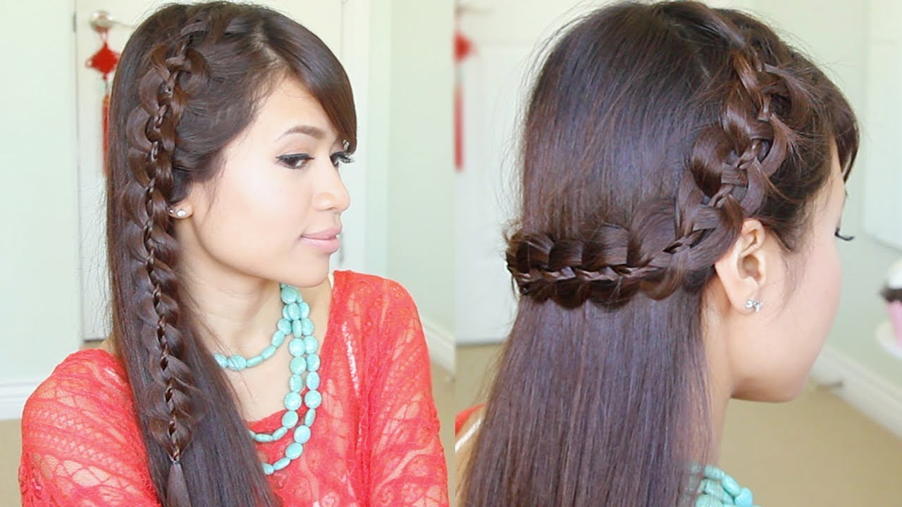 Unique 4-Strand Lace Braid Hairstyle for Long Hair Tutorial - YouTube