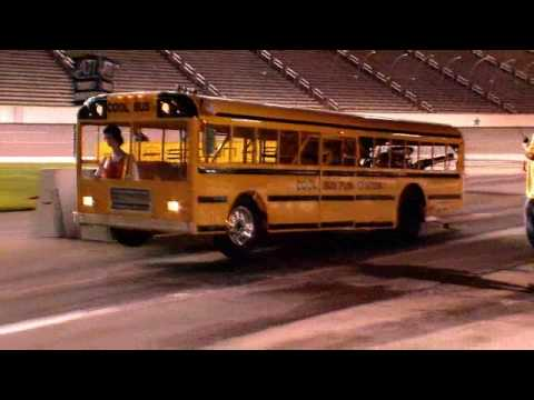 School Bus does wheelie at Texas Motor Speedway