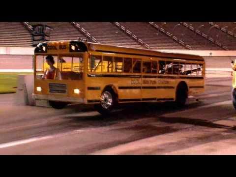 School bus drag racing summertime torque trials for Texas motor speedway drag racing