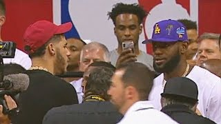 LeBron James Greets Lonzo Ball After Trade While Watching Zion Williamson vs RJ Barrett!