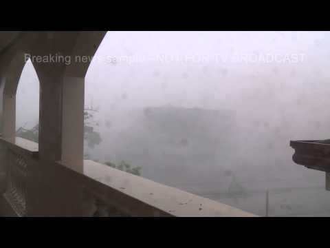 Super Typhoon Yolanda / Haiyan Eyewall Tacloban City Philippines 8th November 2013