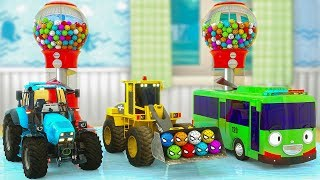 Learn Colors with Gumball Candy with Excavator, Tractor, Tayo Bus and Toys inside