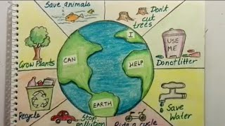 Save Earth Poster tutorial for kids || Save earth, save environment drawing