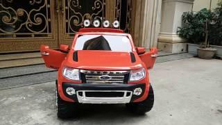 Xe ô tô điện trẻ em 3 chỗ ngồi DKF150 - Ghế Da, Bánh Cao su ko mòn