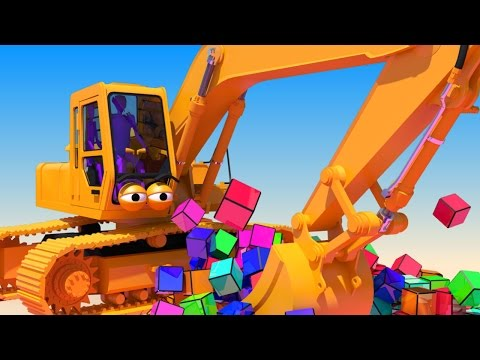 VIDS for KIDS in 3d (HD) - Excavator, Digger Henry at work with Cubes - AApV