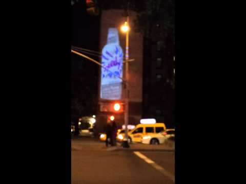 Guerilla Video Projection Advertising on Houston and MacDougal Street NYC