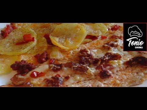 Trucha o salmón al horno con queso y chorizo, receta #126 - Cocina en video.com